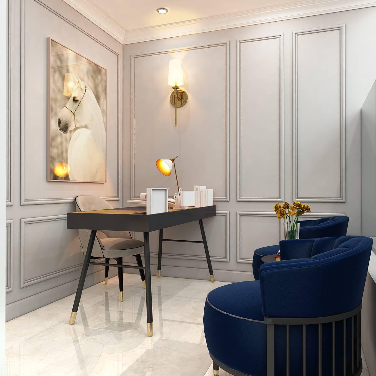 thiết kế nội thất căn hộ bán cổ điển duplex