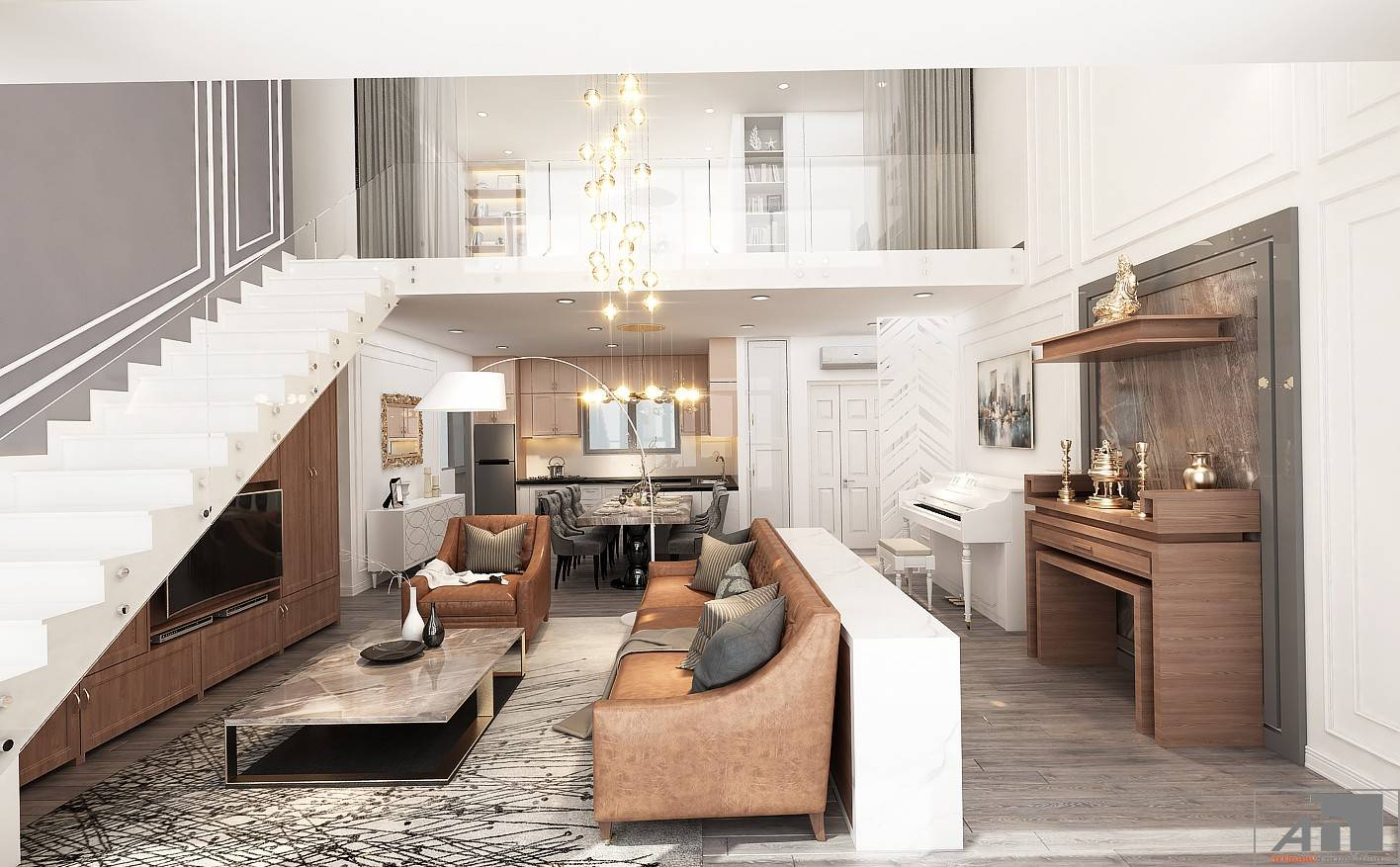 thiết kế nội thất căn hộ bán cổ điển 250m2