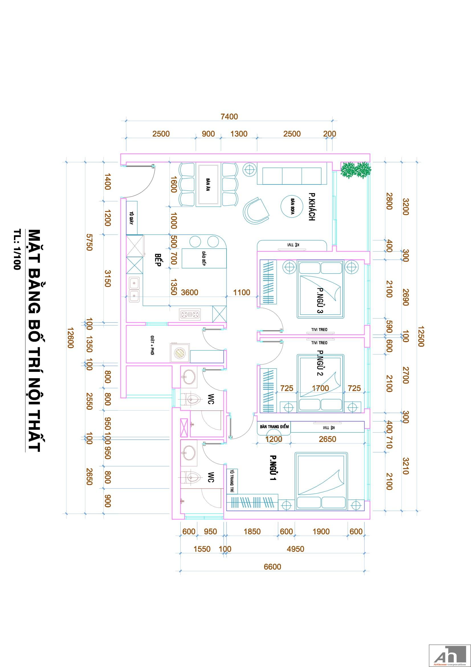 thiết kế nội thất căn hộ 106m2